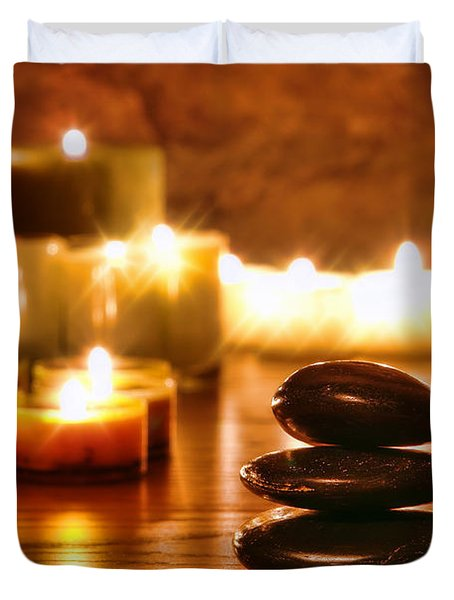 Stones Cairn And Candles Duvet Cover