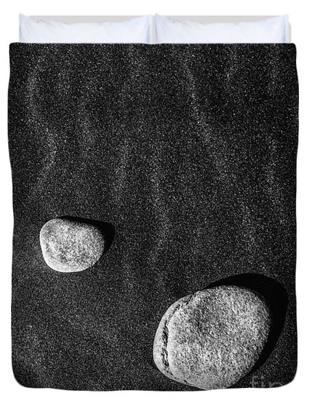 Duvet Cover featuring the photograph Stones In The Sand by Gunnar Orn Arnason