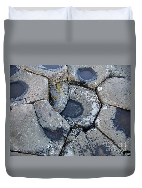 Duvet Cover featuring the photograph Stones On Giant's Causeway by Marilyn Zalatan