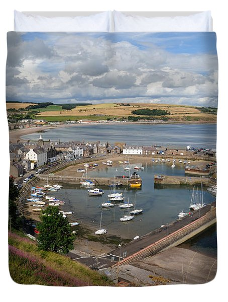 Duvet Cover featuring the photograph Stonhaven Harbour  Scotland by Jeremy Voisey