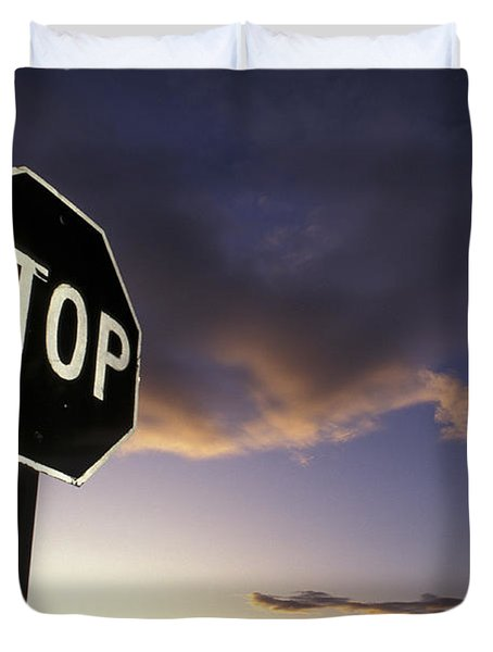 Stop Sign In Sunset Sky In Utah Duvet Cover
