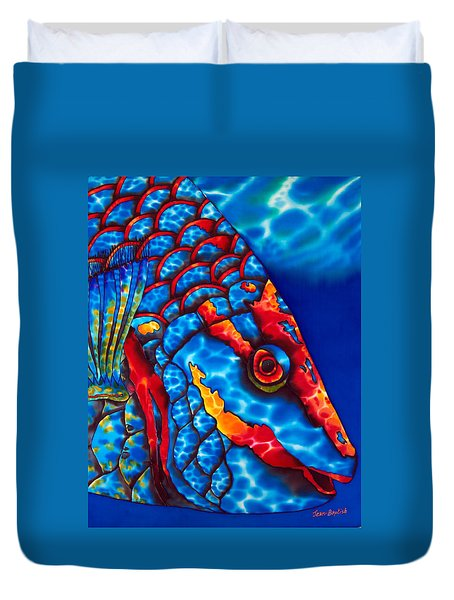 Stoplight Parrotfish Duvet Cover by Daniel Jean-Baptiste