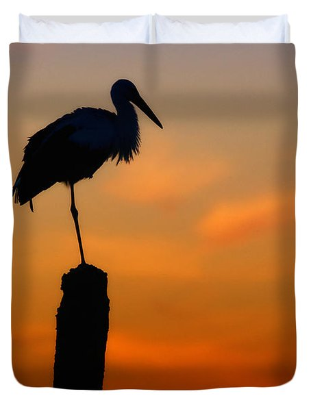 Storck In Silhouette High On A Pole Duvet Cover