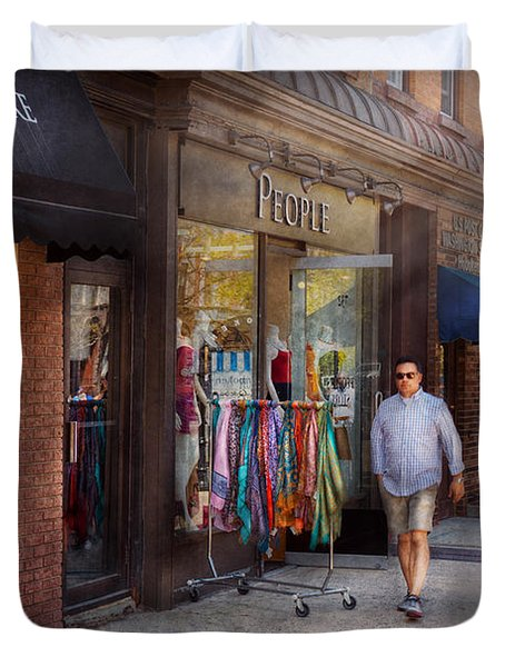 Store Front - Hoboken Nj - People Duvet Cover by Mike Savad
