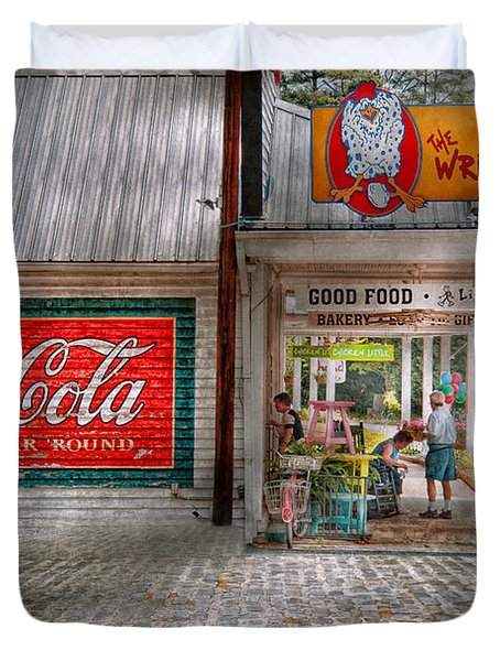 Store Front - Life Is Good Duvet Cover by Mike Savad