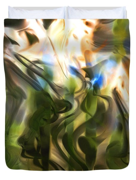 Duvet Cover featuring the digital art Stork In The Music Garden by Richard Thomas