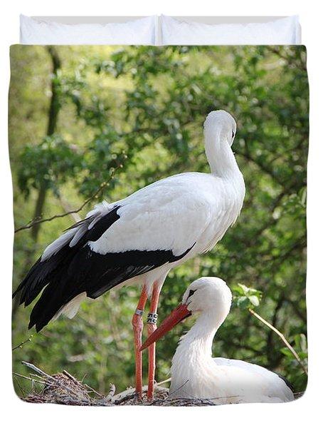 Storks Nesting Duvet Cover