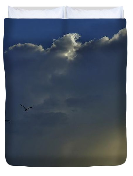 Duvet Cover featuring the photograph Storm Across Delaware Bay by Ed Sweeney