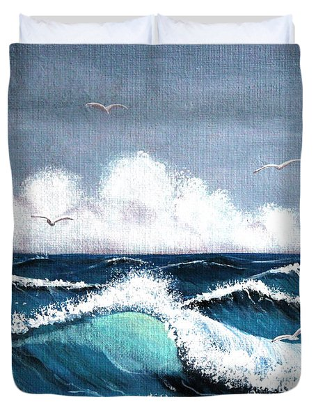 Storm At Sea Duvet Cover by Barbara Griffin