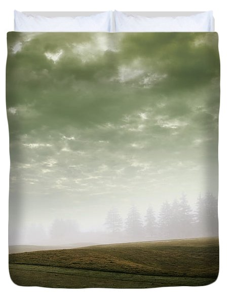 Storm Clouds And Foggy Hills Duvet Cover by Vast Photography