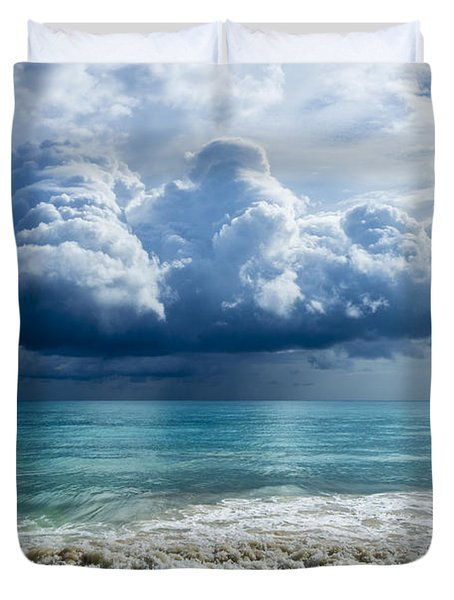 Storm Clouds At Waimanalo Duvet Cover by Leigh Anne Meeks