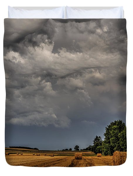 Storm Clouds Over Harvested Field In Poland 2 Duvet Cover by Julis Simo