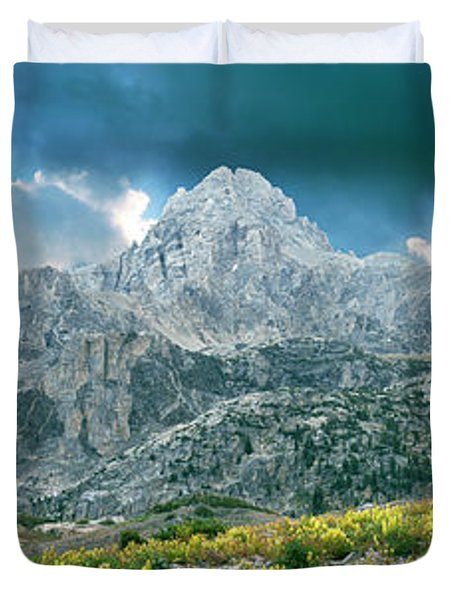 Storm Clouds Over Mountain, Teton Duvet Cover