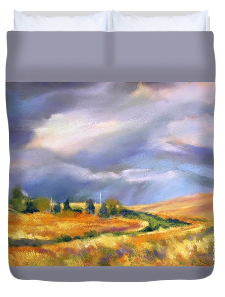 Duvet Cover featuring the painting Storm Colors by Rae Andrews