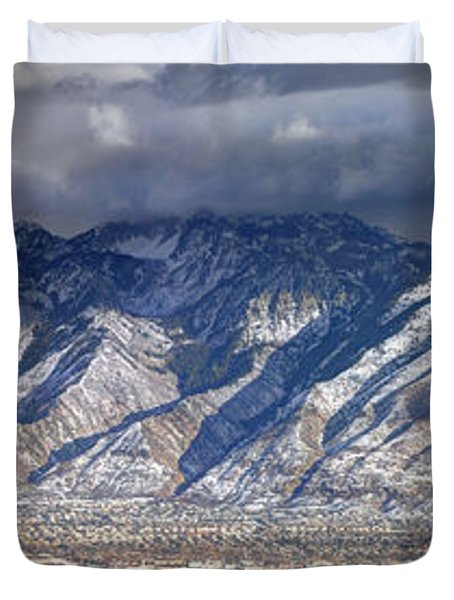Storm Front Passes Over The Wasatch Mountains And Salt Lake Valley - Utah Duvet Cover