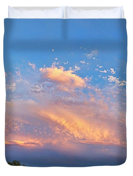 Storm Front Sunset Moon Longmont To Boulder Co Panorama Duvet Cover