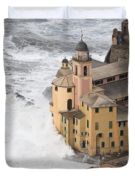 Duvet Cover featuring the photograph Storm In Camogli by Antonio Scarpi