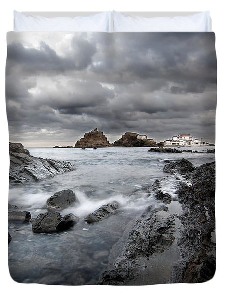 Storm Is Coming To Island Of Menorca From North Coast And Mediterranean Seems Ready To Show Power Duvet Cover by Pedro Cardona
