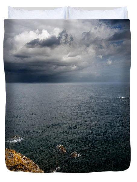 A Mediterranean Sea View From Sa Mesquida In Minorca Island - Storm Is Coming To Island Shore Duvet Cover