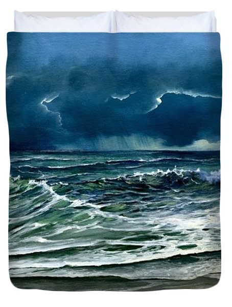 Duvet Cover featuring the painting Storm Off Yucatan Mexico by Lynne Wright