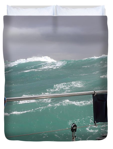 Storm On Tasman Sea Duvet Cover