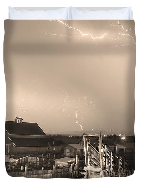 Storm On The Farm In Black And White Sepia Duvet Cover by James BO  Insogna