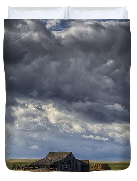 Storm Over Barn Duvet Cover