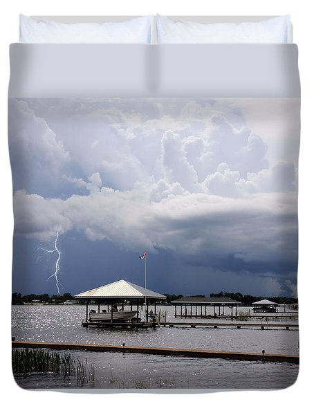 Duvet Cover featuring the photograph Storm Over Clay Lake by Rosalie Scanlon