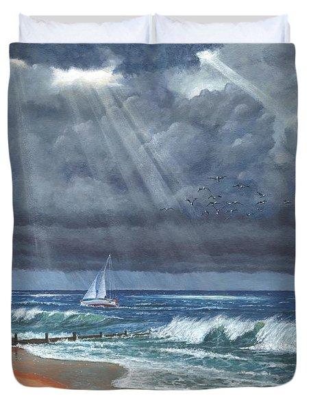 Storm Over Lindisfarne Duvet Cover by Richard Harpum