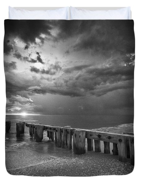 Storm Over Naples Florida Beach Duvet Cover by Bradley R Youngberg