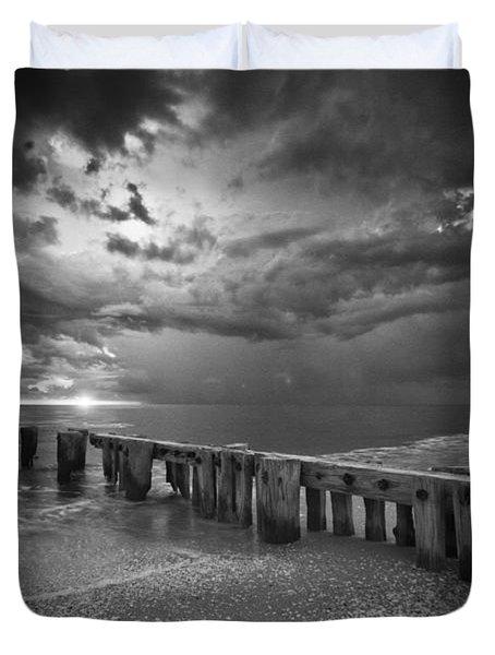 Storm Over Naples Florida Beach Duvet Cover