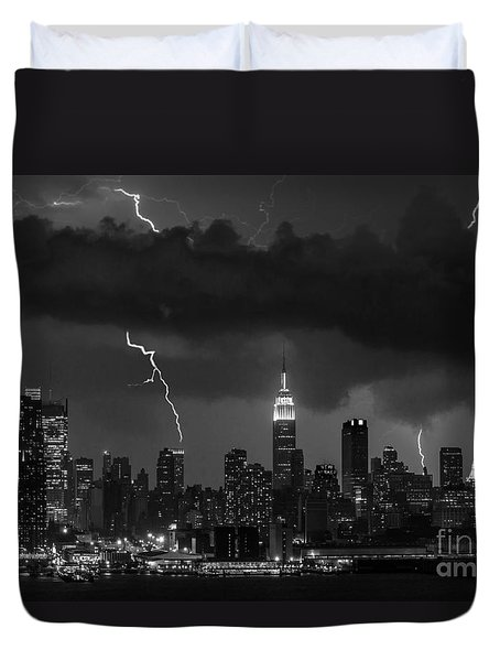 Storm Over Nyc  Duvet Cover by Jerry Fornarotto