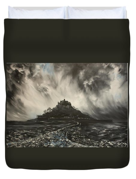 Duvet Cover featuring the painting Storm Over St Michaels Mount Cornwall by Jean Walker