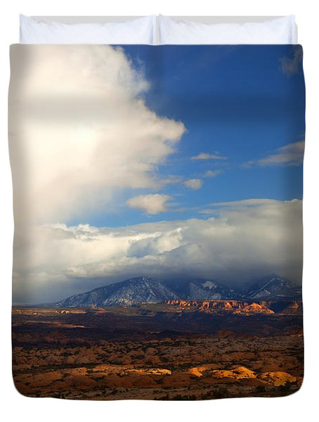 Storm Over The La Sals Duvet Cover by Mike  Dawson
