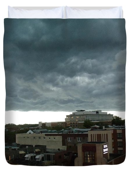 Storm Over West Chester Duvet Cover by Ed Sweeney