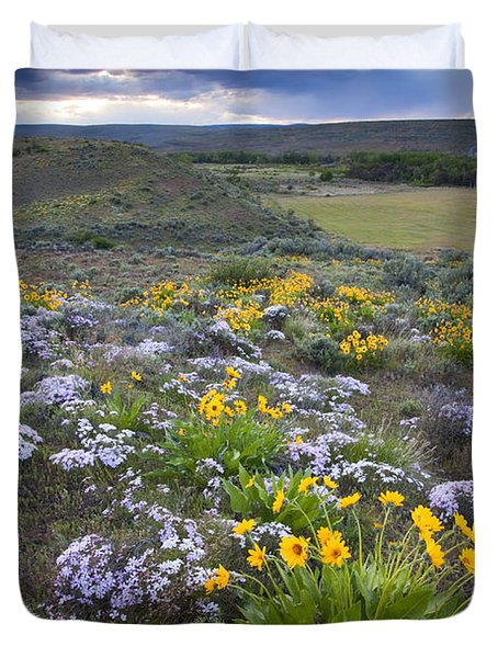 Storm Over Wildflowers Duvet Cover by Mike  Dawson