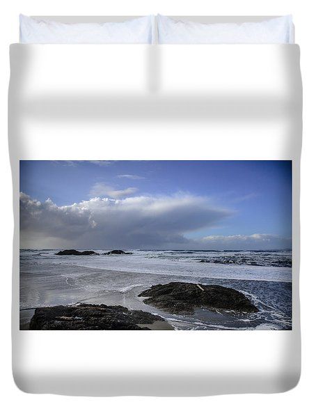 Storm Rolling In Wickaninnish Beach Duvet Cover by Roxy Hurtubise