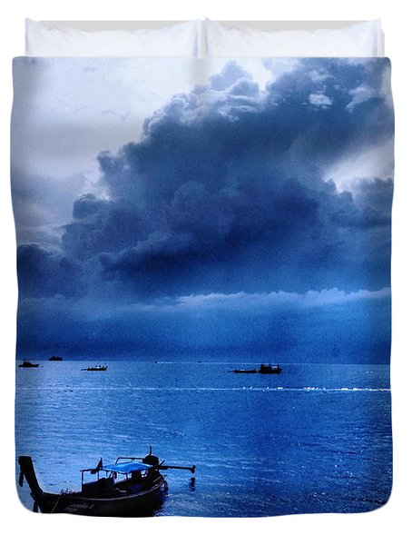 Storm Rolls Over The Sea Duvet Cover by Kaleidoscopik Photography