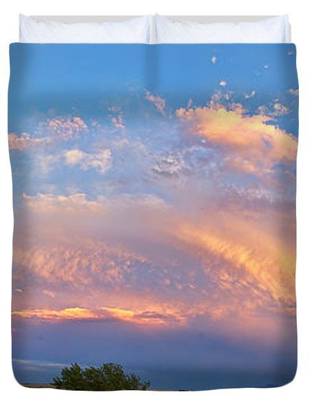 Storm Sunset Moon Longmont To Boulder Co Panorama Duvet Cover