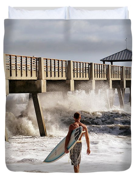Storm Surfer Duvet Cover by Laura Fasulo