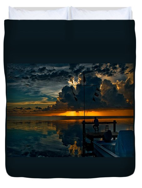 Sunset Tropical Storm And Watcher In Florida Keys Duvet Cover