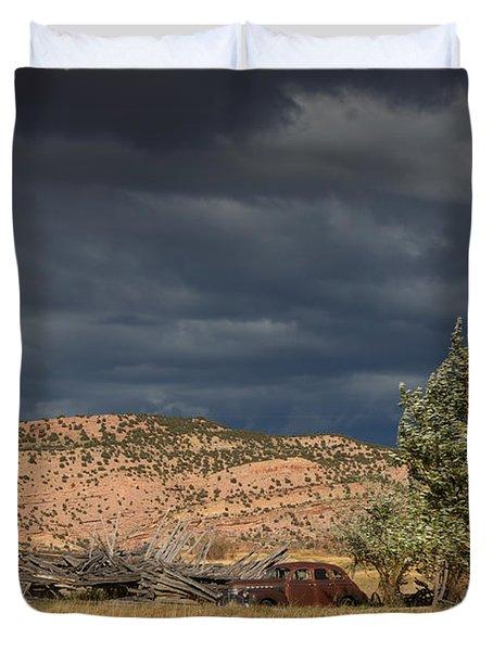 Storm Whipping Desert Homestead Duvet Cover