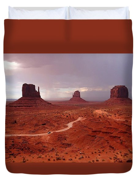 Storms Moving Through Monument Valley Duvet Cover