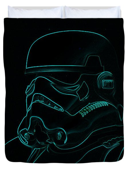 Stormtrooper In Teal Duvet Cover by Chris Thomas