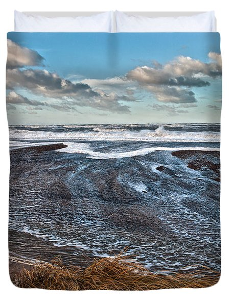 Stormy Beach Duvet Cover by Mike Santis