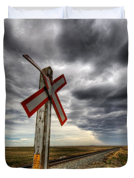 Stormy Crossing Duvet Cover by Bob Christopher