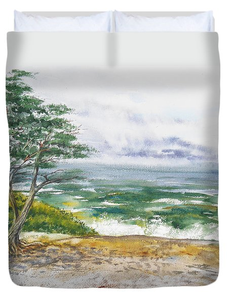 Stormy Morning At Carmel By The Sea California Duvet Cover