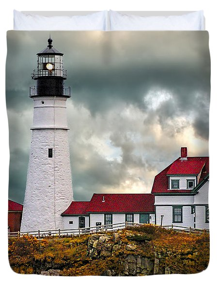 Stormy Portland Head Light Duvet Cover