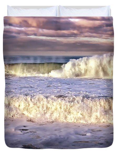 Stormy Seas At Sunrise Duvet Cover