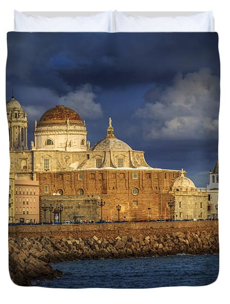 Stormy Skies Over The Cathedral Cadiz Spain Duvet Cover